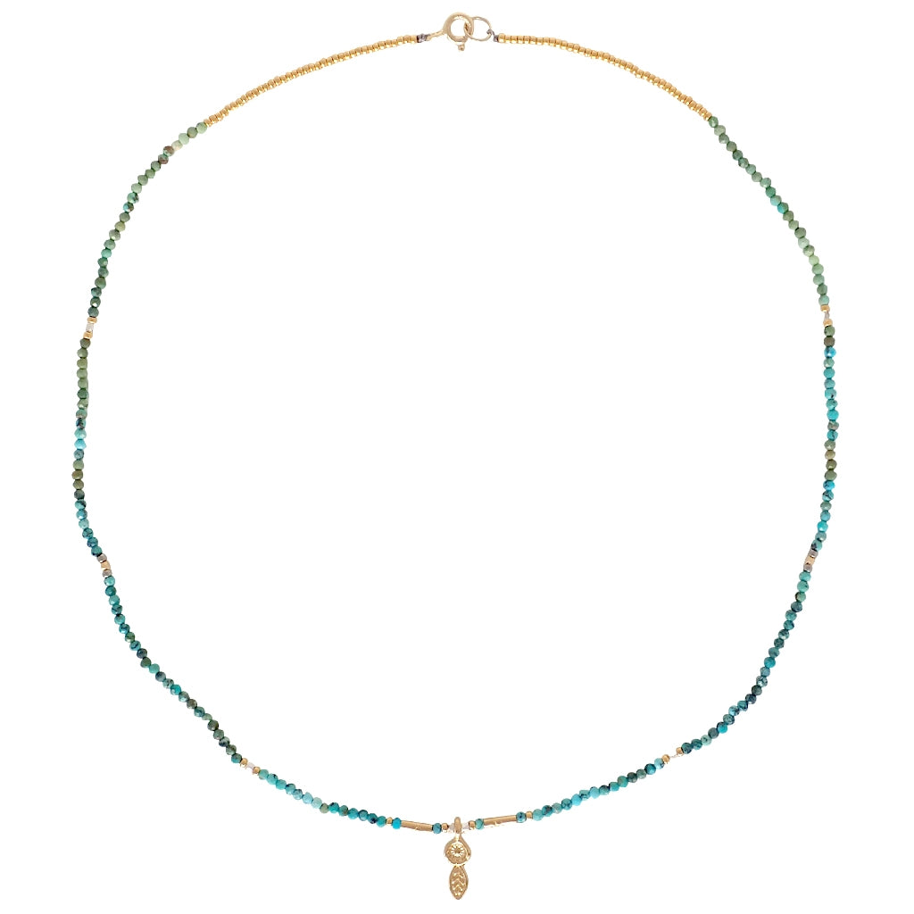 Dreamcatcher necklace is ready for action, colorful gemstones with gold and silver accents,  a Bronwen Jewelry favorite