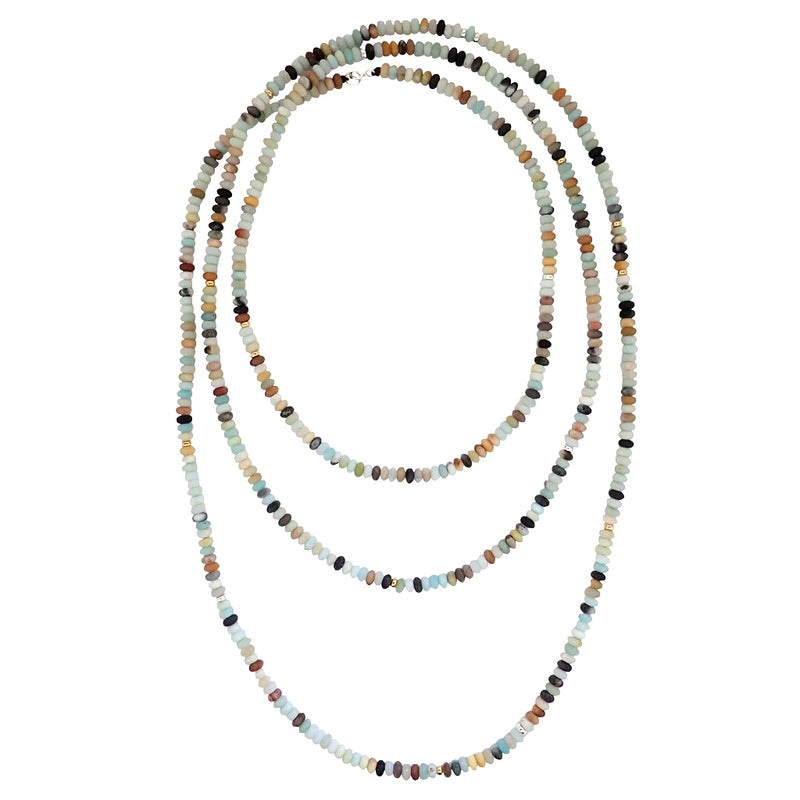 Elements necklaces are handmade with glass beads, can be worn short or long, a Bronwen Jewelry bestseller.