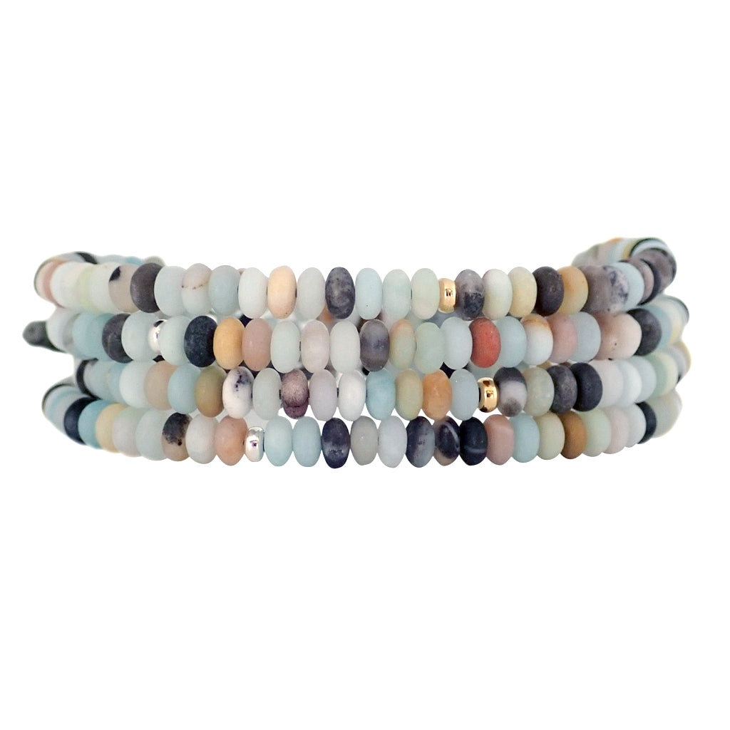 Elements wrap bracelets are handmade with glass beads, adjustable and water worthy, a Bronwen Jewelry bestseller.