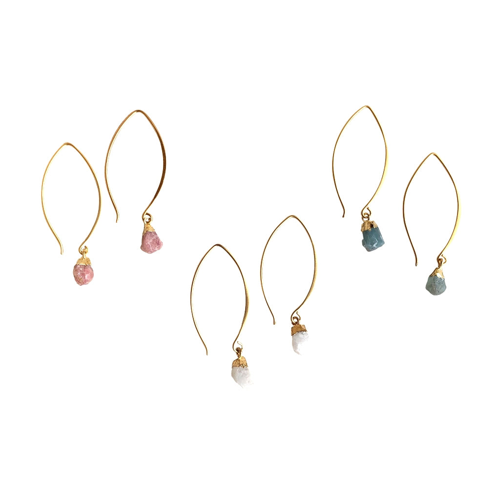 Gemstone Nugget earrings are a Bronwen Jewelry must have. They come long or short, in your choice of three semi precious gems