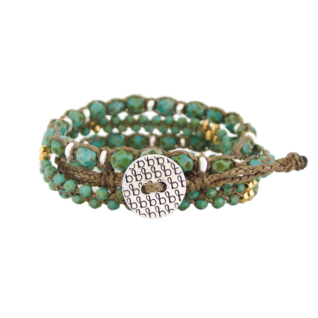 Harmony Wrap beaded bracelets are adjustable, water worthy and an elegant Bronwen Jewelry piece for your active lifestyle.
