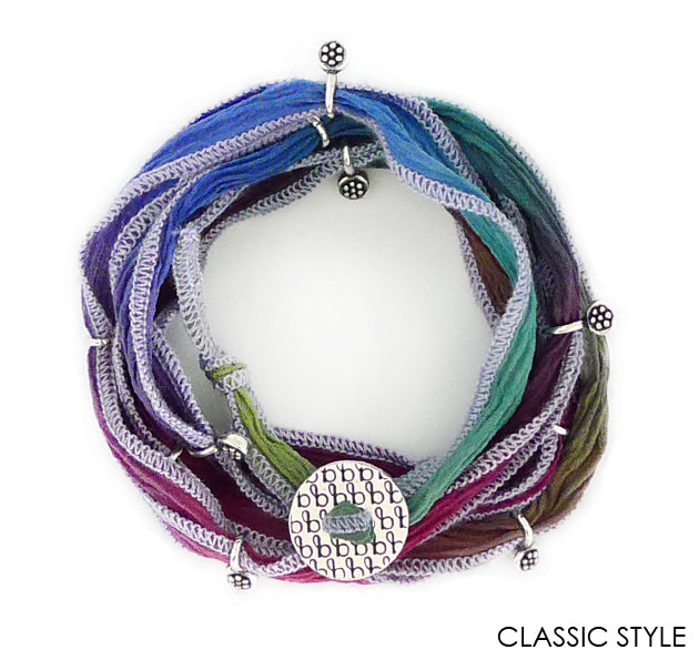 Ribbon Wrap silk bracelets are colorful, adjustable and unique. A Bronwen Jewelry bestseller for your active lifestyle.