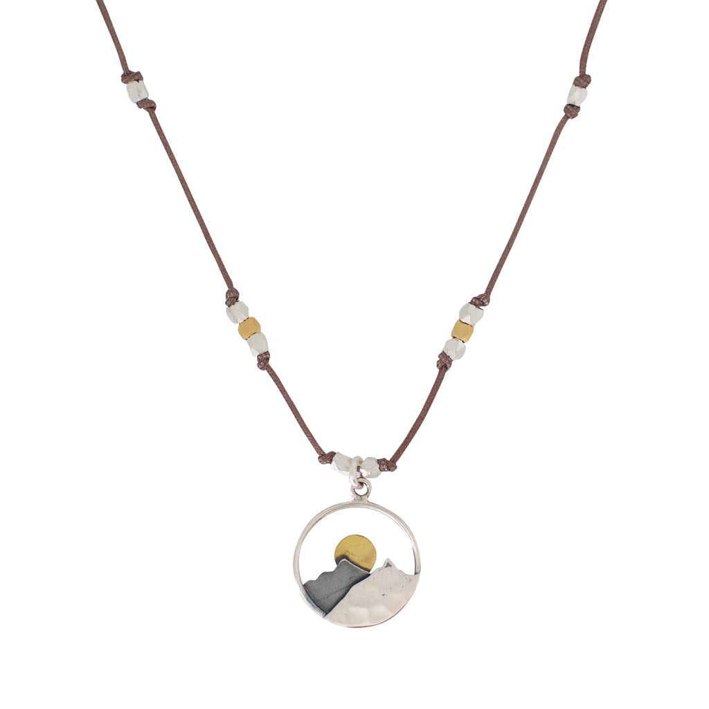 Landscape mixed metal necklaces are water worthy, strong and a Bronwen Jewelry favorite. Perfect for your active lifestyle.