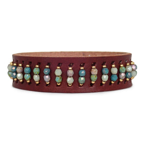 Our Leather Cuff bracelets with Czech glass beads are edgy and elegant. A Bronwen Jewelry must have.