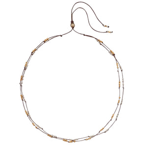 Mixed metal weave necklace is adjustable, water worthy and strong. Wear this Bronwen Jewelry for all your outdoor activities.