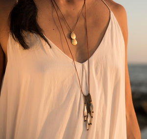 Our Pool Drop necklace is adjustable, water worthy and strong. Wear this Bronwen Jewelry for all your outdoor activities.