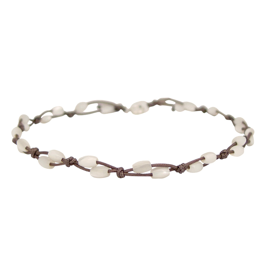 Mother of Pearl Fishermans anklet is a water worthy Bronwen Jewelry favorite. Beautiful jewelry for an active lifestyle