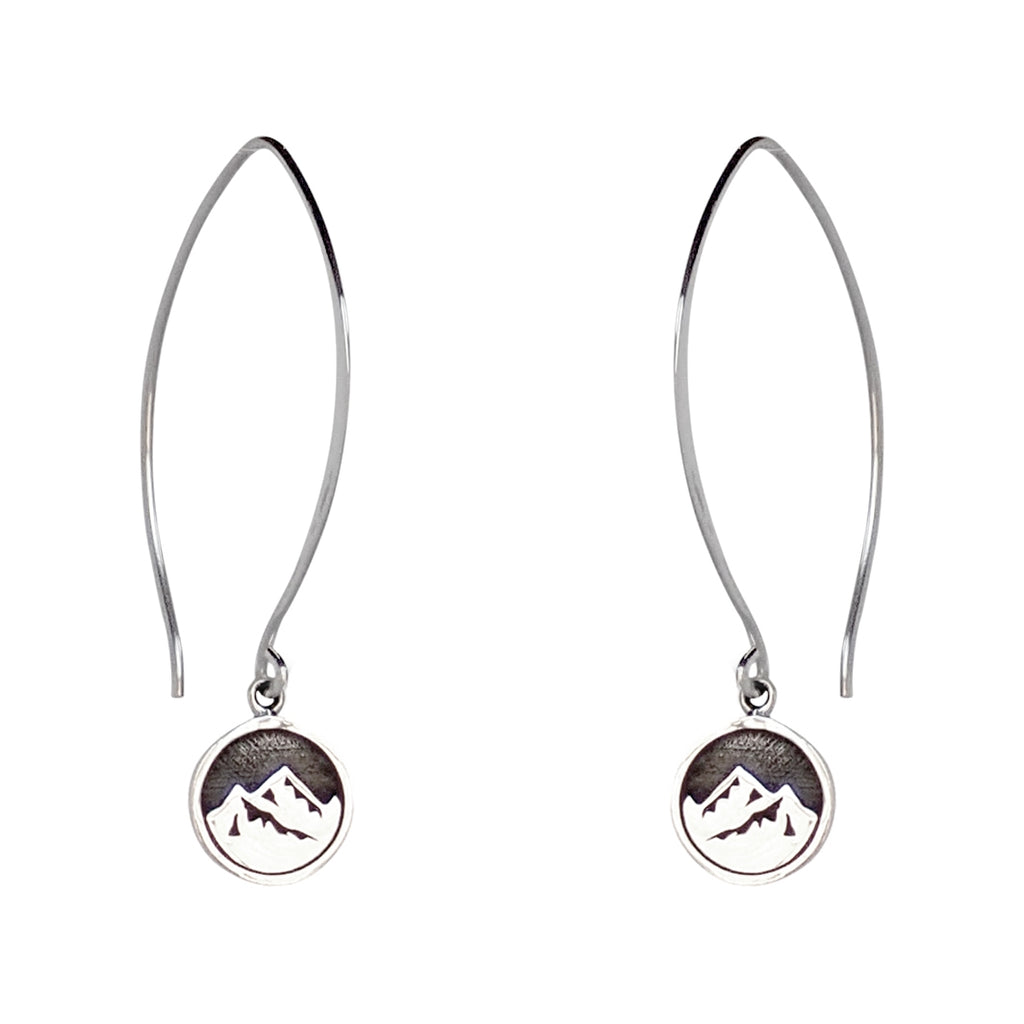 Mountain earrings are a Bronwen Jewelry must have. Cast in sterling silver, short or long, these are everyday active-chic