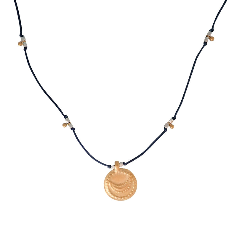 Mixed metal New Moon necklace is adjustable, water worthy and strong. Beautiful Bronwen Jewelry for your active lifestyle