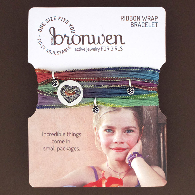 Our Kids Ribbon Wrap bracelets are colorful, adjustable and so cute. A Bronwen Jewelry bestseller for your active kids.