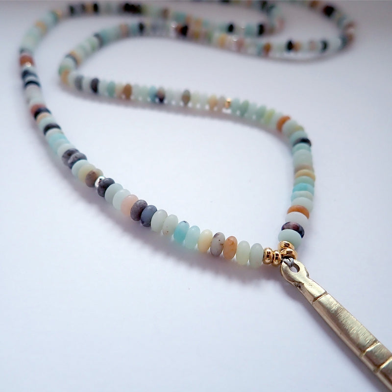 Our Sea Drift necklace is ready for action, colorful and durable, this is a Bronwen Jewelry pick for everyday elegance