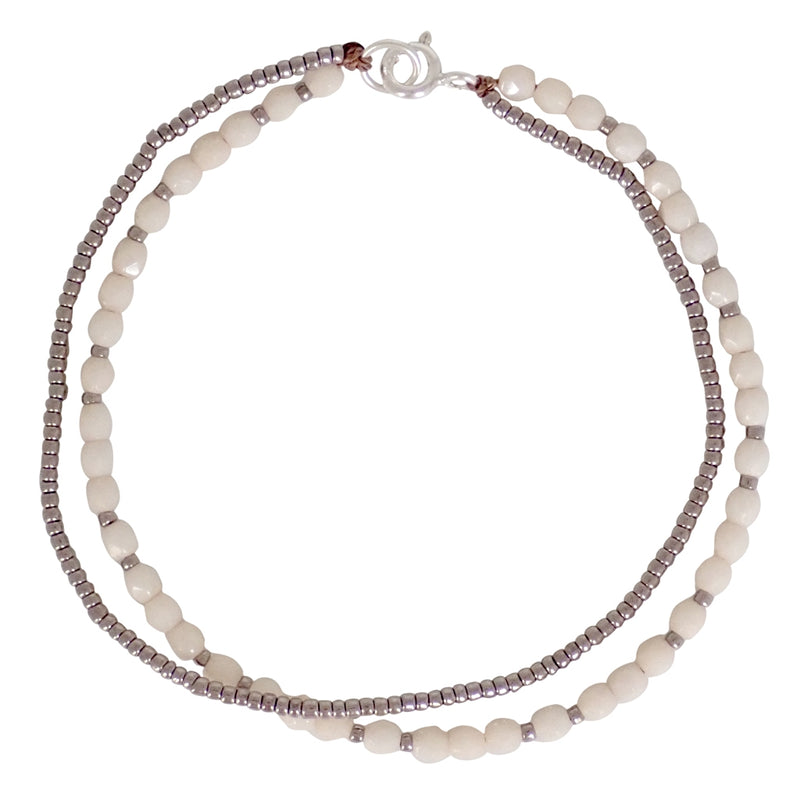 Our Solstice beaded bracelets are dainty and durable, a Bronwen Jewelry favorite. Beautiful jewelry for an active lifestyle.