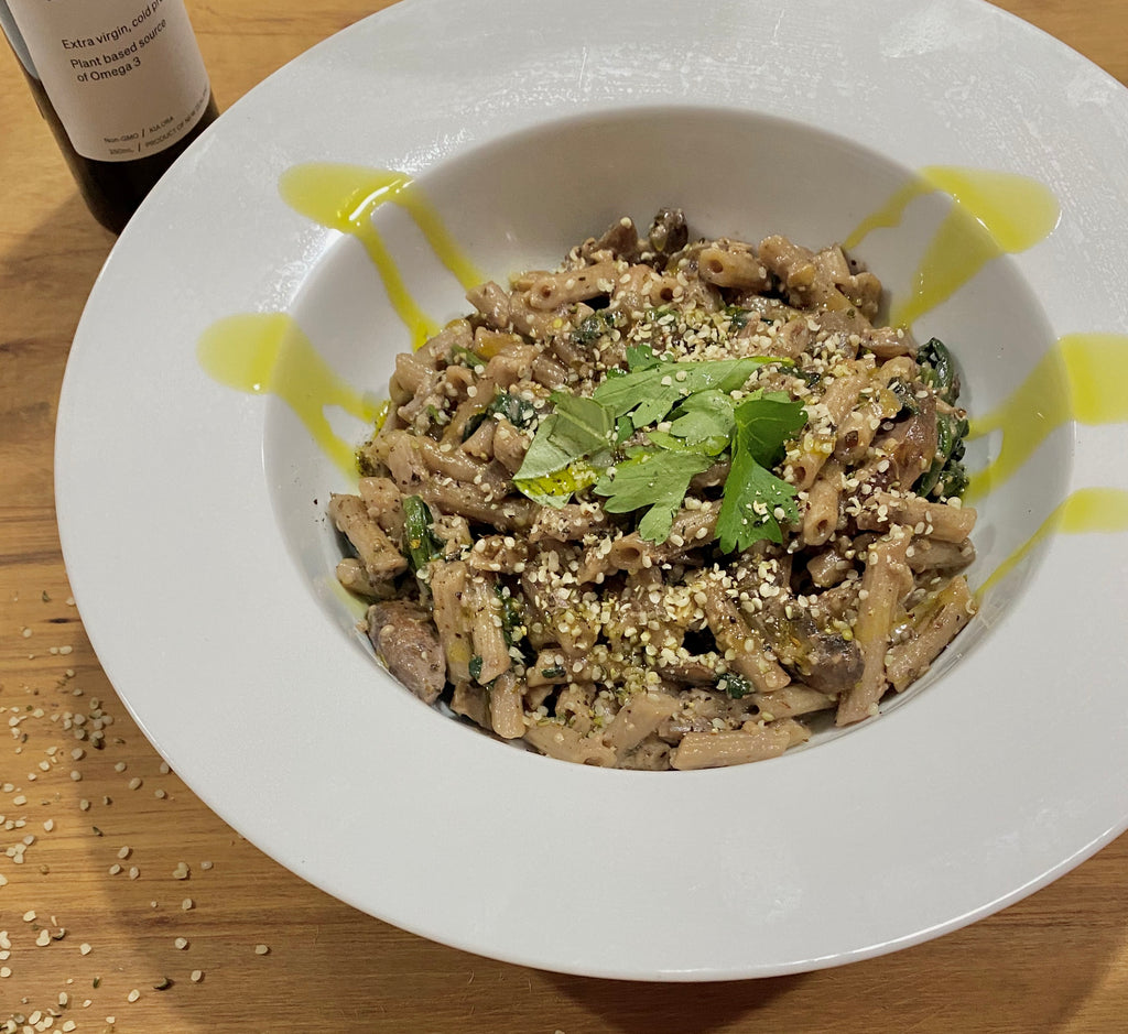 Mushroom Pasta Hemp Recipe - The Brothers Green