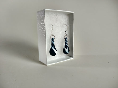 Deep Blue Sparkly with a Twist Drop Earrings