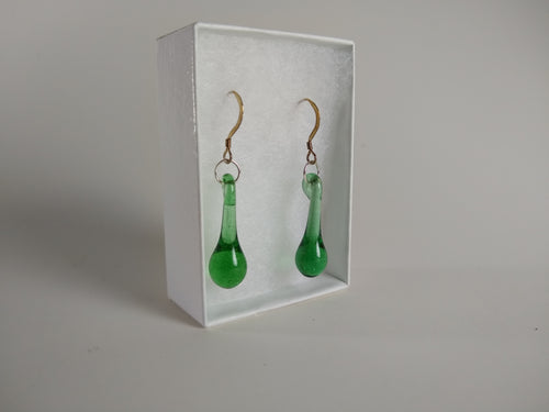 Transparent Green Drop Earrings