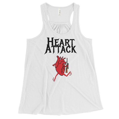 HEART ATTACK (gun) Women's Flowy Racerback Tank with light colors