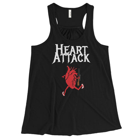 HEART ATTACK (GUN) WOMEN'S FLOWY RACERBACK TANK WITH dark COLORS