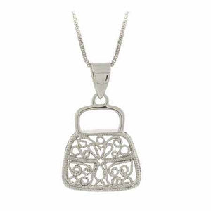 Sterling Silver Filigree Purse Hand Bag Pendant