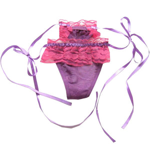 2pcs Purple Ruffle Lace-up Panties Hipster G-string Sheer Thong Lingerie,asain M