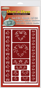 "Over 'n' Over Reusable Stencils 5""""x8""""-hearts"