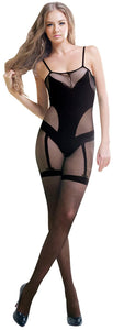 Blancho Se-140 Sexy Black Sheer Lace Cami Body Stocking - Black - Medium
