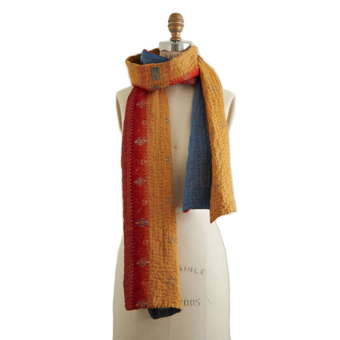 Red and blue kantha scarf