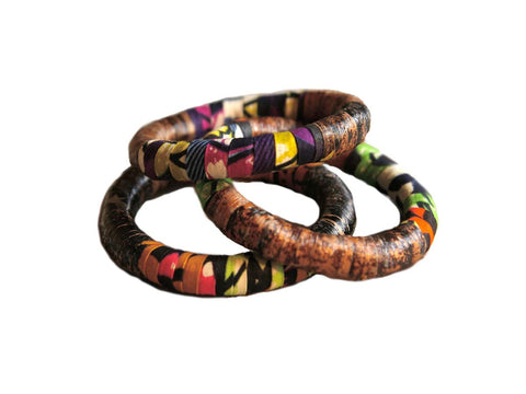 Banana Bark and Fabric Bangles