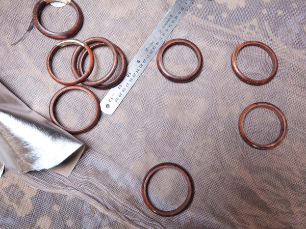 Wood and Silver Leather Bangles