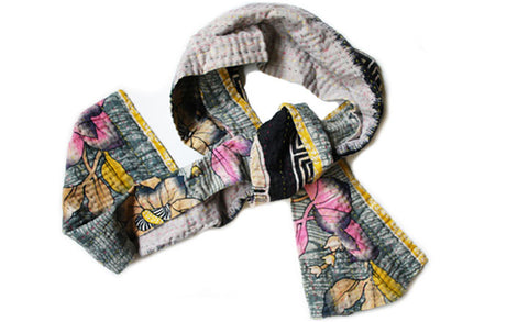 Graphic Blossom Kantha Scarf
