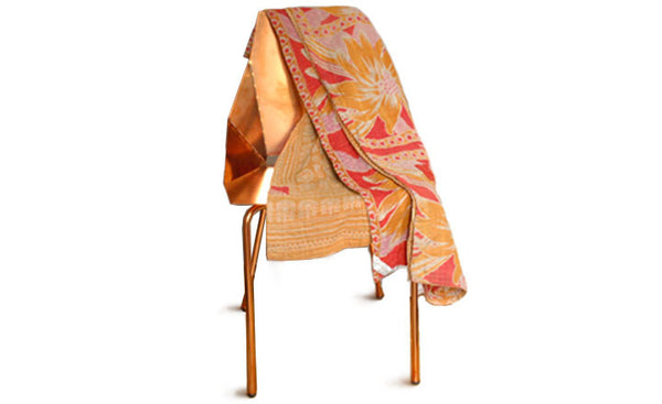 Rosy Gold Kantha Throw