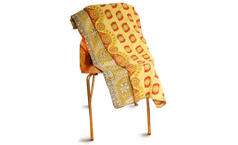 Golden Light Kantha Throw