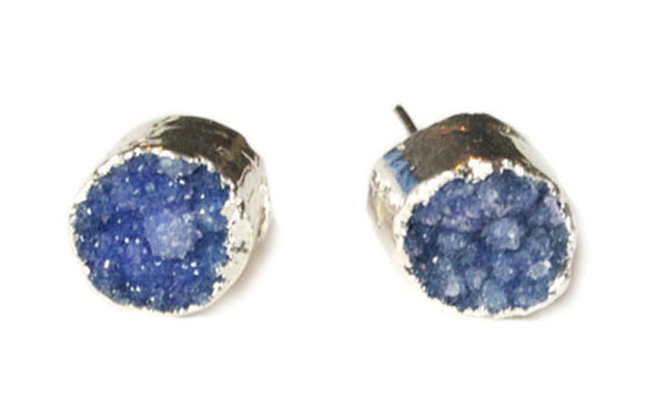 Navy Blue Druzy Earrings