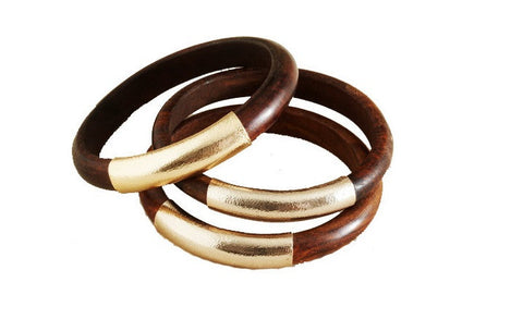 Wood and Gold Leather Bangles