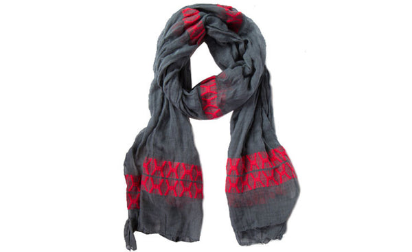 Gunmetal Gray and Rose Scarf