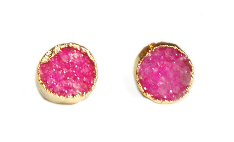 Pink Druzy Stone Earrings