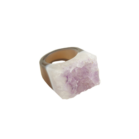Purple Agate Druzy Ring