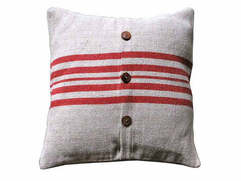 Red Rustic Linen Pillow Cover