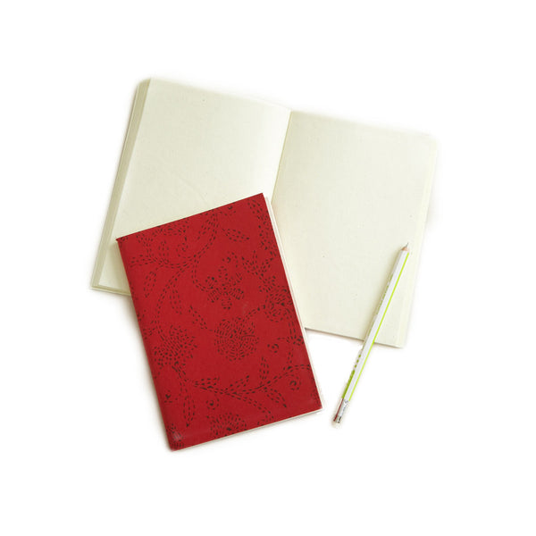 Red Floral Journal