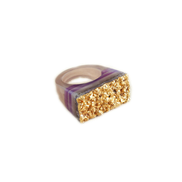 Purple Striped Gold Dipped Druzy Ring