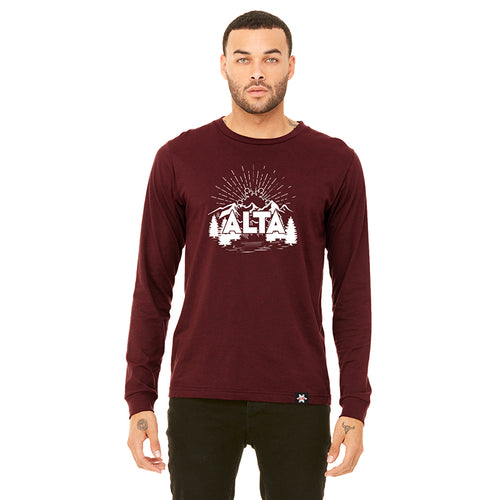 Rising Flake Design Long Sleeve T-shirt