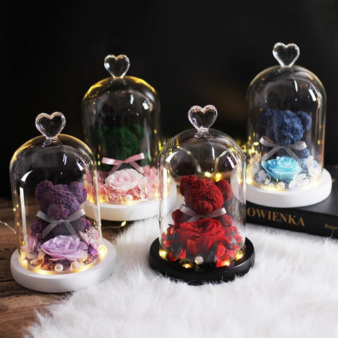Rose Bear In Glass Dome With Lights