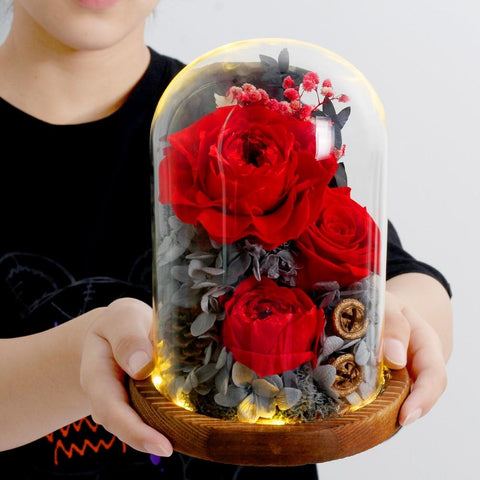 Preserved Flowers In Glass Dome