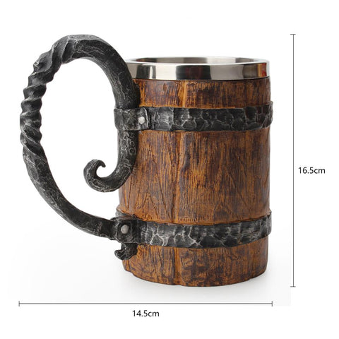 Viking Beer Mug Wood