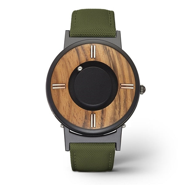 Wooden Dial Magnetic Ball Watch - vishmall.com