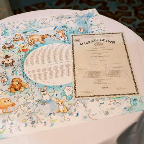 Allison and Andrew's Ketubah with Marriage Contract
