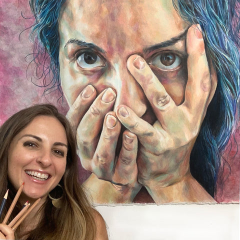 Anna Abramzon with colored pencil drawing