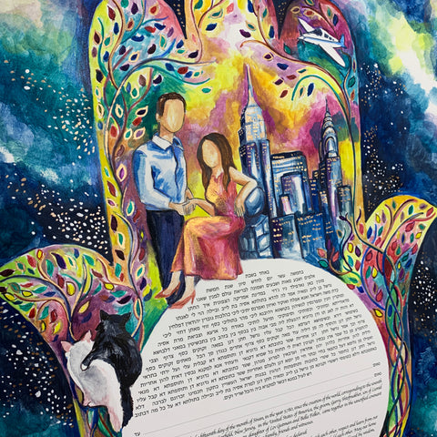 Original Hand Painted Ketubah by Anna Abramzon for Asya and Garry