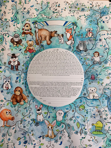 Andrew and Allison Stuffed Animal Ketubah Anna Abramzon