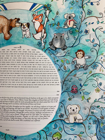 Andrew and Allison Stuffed Animal Ketubah Detail Anna Abramzon