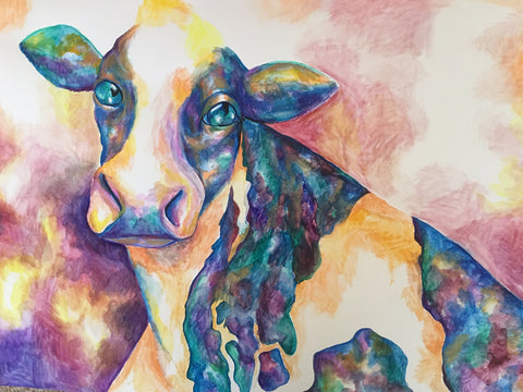 """Korovka"" Cow Painting by Anna Abramzon copyright 2019"